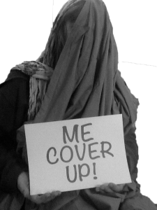 a sign saying ME Cover up
