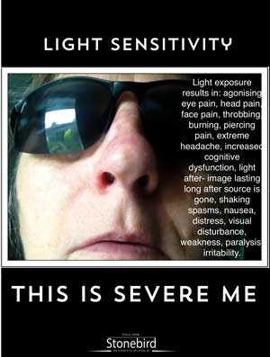 a poster listing the many symptoms of light sensitivity in Severe ME
