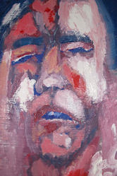 a finger-painted,  mask-like, painting of Greg, in red, blue and white