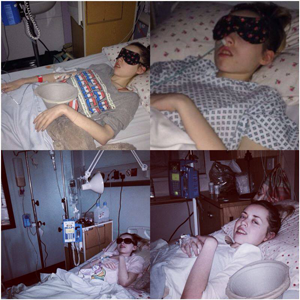 photos of Merryn in a hospital bed
