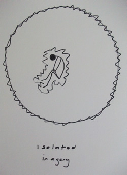a pen and ink representation of Linda sitting enclosed in a ragged circle