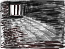a black and white sketch of a prison cell with bars on the window