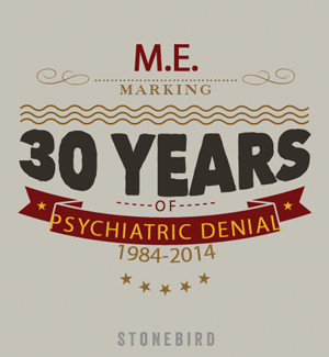 a poster marking 30 years of psychiatric denial