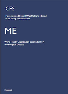 a poster stating  how ME is a real disease whereas CFS is a made up condition
