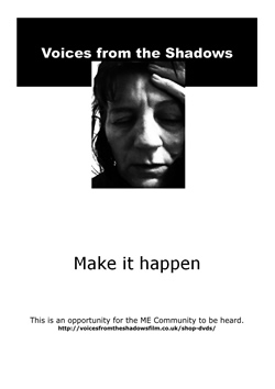a poster saying Voices from the Shadows , Make it Happen, This is an opportunity for the mE community to be heard.
